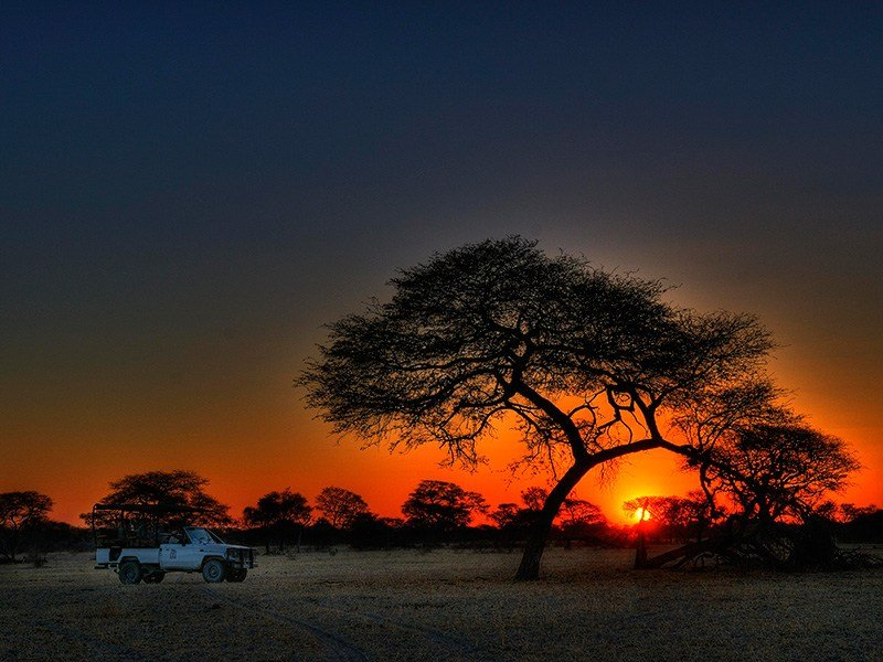 Botswana-Kalahari-Leroo-La-Tau-Sunset